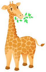 Cute Cartoon Giraffe Eats A Twig With Leaves Sticker