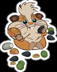Cute Cartoon Hamster Stuffed His Cheeks Sticker
