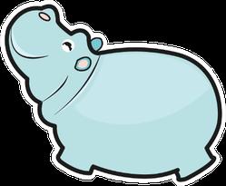 Cute Cartoon Hippo In Blue Sticker