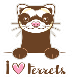 Cute Cartoon I Heart Ferrets Sticker