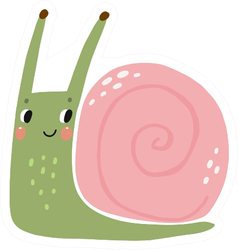 Cute Cartoon Illustration Of A Snail Sticker