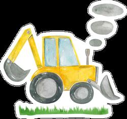 Cute Cartoon Illustration Of Construction Yellow Tractor Sticker