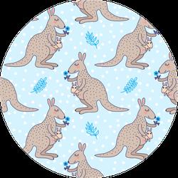 Cute Cartoon Kangaroo Baby And Small Flower Pattern Sticker
