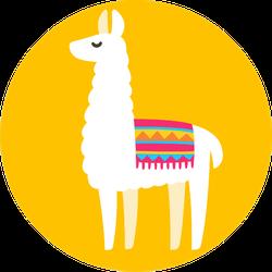 Cute Cartoon Llama Drawing On Bright Yellow Sticker