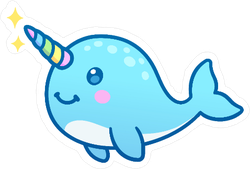 Cute Cartoon Magic Narwhal Unicorn Sticker