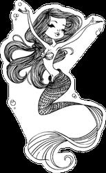 Cute Cartoon Mermaid Drawing Sticker