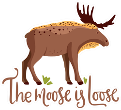 Cute Cartoon Moose, The Moose Is Loose Sticker