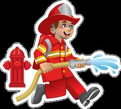 Cute Cartoon Of Firefighter Sticker