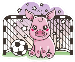 Cute Cartoon Pig With A Soccer Ball Sticker