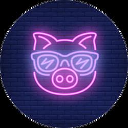 Cute Cartoon Pink Pig In Sunglasses Sticker
