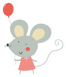 Cute Cartoon Rat With Balloon Sticker