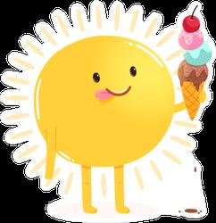 Cute Cartoon Sun Eating Ice Cream Sticker