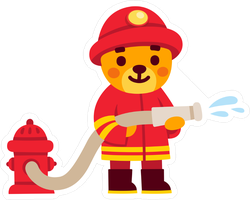 Cute Cartoon Teddy Bear Firefighter Sticker