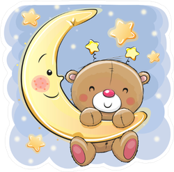Cute Cartoon Teddy Bear On The Moon Sticker