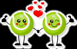 Cute Cartoon Tennis Balls In Love Sticker