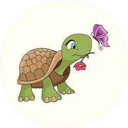 Cute Cartoon Turtle and Butterfly Sticker