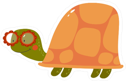 Cute Cartoon Turtle with Glasses Sticker