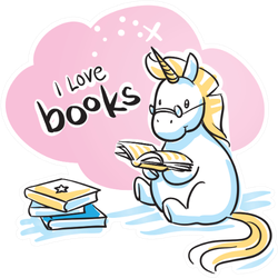 Cute Cartoon Unicorn With A Book, I Love Books Sticker