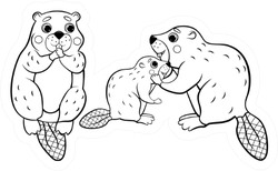 Cute Cartoon Wild Beaver Family Coloring Page Sticker