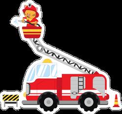 Cute Cat Firefighter In Truck Sticker
