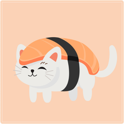 Cute Cat In Sushi Sticker