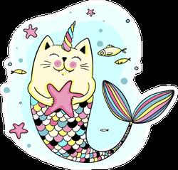 Cute Cat Unicorn Mermaid Sticker