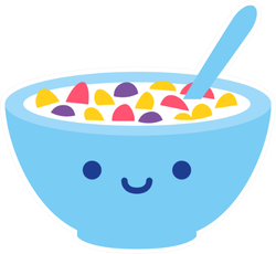 Cute Cereal Bowl With Smile Sticker