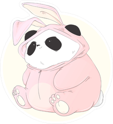 Cute Chubby Panda In A Pink Rabbit Costume Sticker