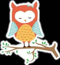 Cute Colorful Sleeping Owl Sticker