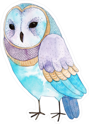 Cute Colorful Watercolor Owl Sticker