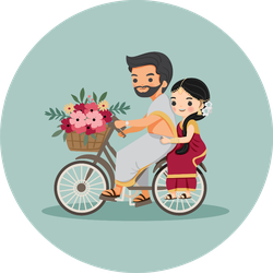 Cute Couple In Traditional Dress On Bicycle Sticker
