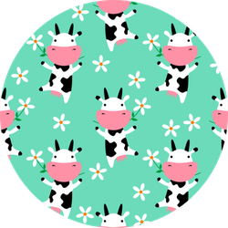Cute Cow Eating Grass. Seamless Pattern Sticker