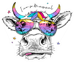 Cute Cow In A Rainbow Glasses With A Unicorn Horns Sticker