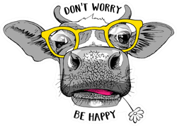 Cute Cow In A Yellow Glasses Don't Worry Be Happy Sticker