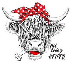 "Cute Cow ""Not Today Heifer"" Sticker"