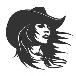 Cute Cowgirl Hair Blowing In Wind Sticker