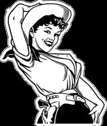 Cute Cowgirl Retro Sticker