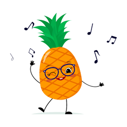 Cute Dancing Pineapple Cartoon In Glasses Sticker