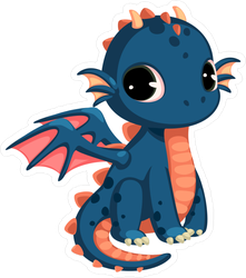 Cute Dark Blue Baby Dragon Sticker