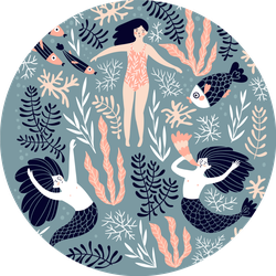 Cute Decorative Mermaids Swimming Sticker