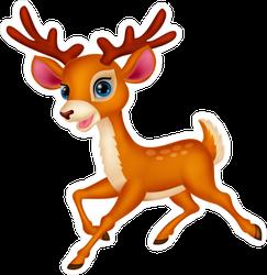 Cute Deer Cartoon Running Sticker