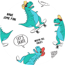 Cute Dinosaurs On Skateboard Sticker
