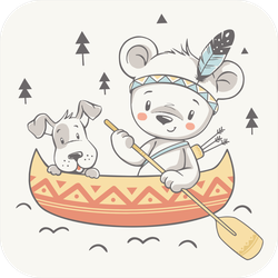 Cute Dog And Bear Indian In Canoe Sticker