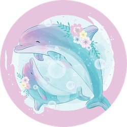 Cute Dolphin Mother And Baby Sticker