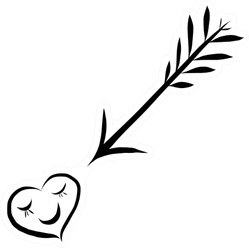 Cute Doodle Love Arrow With Heart Icon Sticker