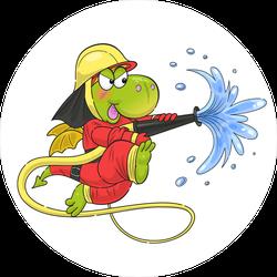 Cute Dragon Firefighter Sticker