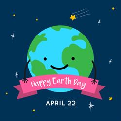 Cute Earth Day Cartoon Card Sticker