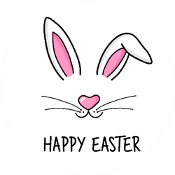 Cute Easter Bunny Illustration And Lettering Sticker