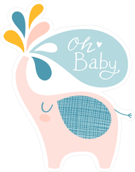 Cute Elephant Oh Baby Sticker