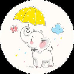 Cute Elephant With Umbrella Sticker